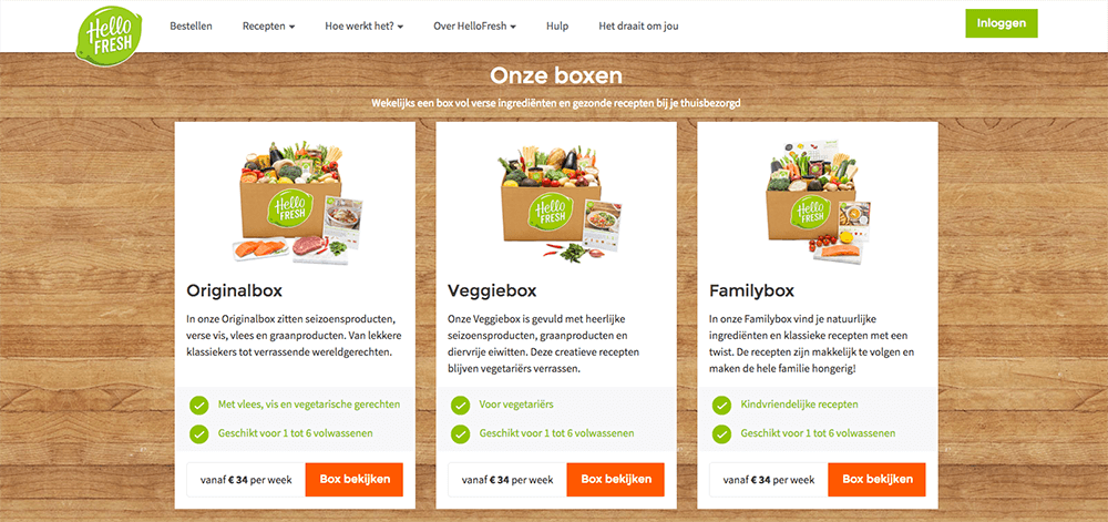 hellofresh box kiezen