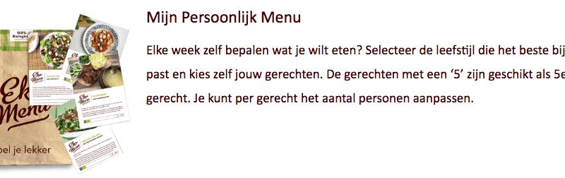 ekomenu persoonlijke menu